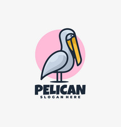 logo pelican simple mascot style vector image