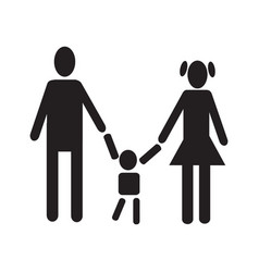 men woman holding baby figure black silhouette vector image