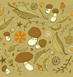 Mushrooms and fallen leaves autumn pattern vector