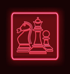 neon rectangle frame with chess glowing signboard vector image