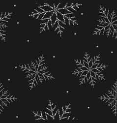 new year silver snowflakes seamless background vector image