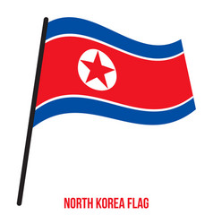 North korea flag waving on white background north vector