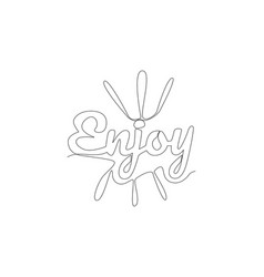 one continuous line drawing cute and cool vector image