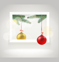 photorealistic bright gallery frame christmas vector image