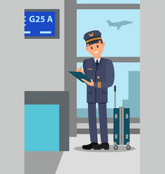 pilot with suitcase standing in airport terminal vector image