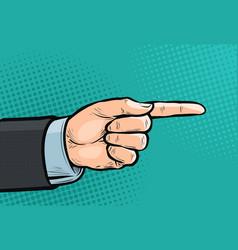 Pointing hand forefinger index finger pop art vector