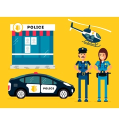 Police Characters Car Helicopter vector image