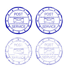 post service blue faded round stamp vector image