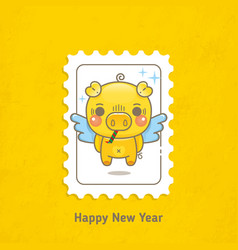 Postage stamps pigs happy new year vector