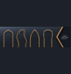 Realistic golden 3d metal arches vector