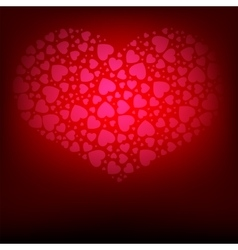 Red background with hearts collection vector image