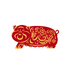 red pig with yellow ornament as a symbol of 2019 vector image
