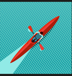 rowing man top view kayak boat canoe race vector image