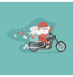Santa on a motorcycle vector image