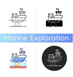 Seafloor mapping icon vector