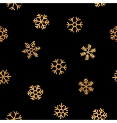 Seamless pattern of falling golden snowflakes vector