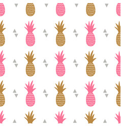 seamless pattern with pineapples and triangles vector image