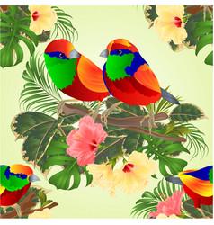 seamless texture tropical birds on a branch vector image