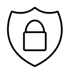 Security shield with lock thin line icon 48x48 vector