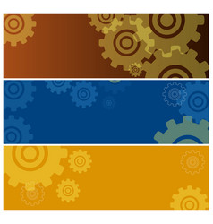 set colorful posters with gear icons isolated vector image
