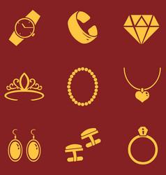 Set jewellery icons vector