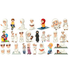 Set muslim kids character vector