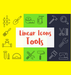 Set of linear icons in the flat style vector
