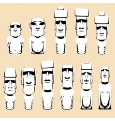 Set of Moai monolithic human figures carved by the vector image