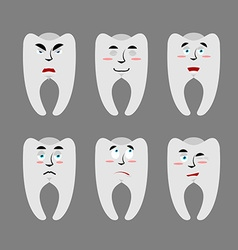 Set teeth with emotions Cheerful and angry tooth vector image vector image