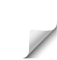 Sheet of white paper with curled corner element vector