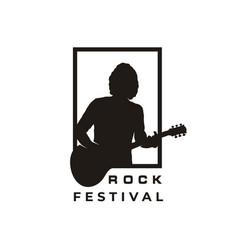 silhouette guitarist music rock singer guitar vector image