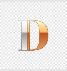Silver and gold font symbol alphabet letter d vector