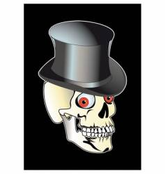 skull with top hat vector image