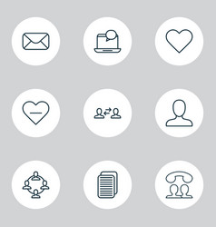 social icons set with user interaction member vector image