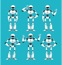 spaceman robot android in different poses cute vector image
