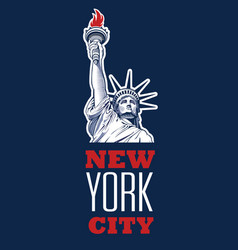 Statue liberty nyc fourth july vector
