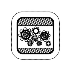 Sticker monochrome square with gear wheel vector