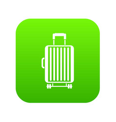 suitcase on wheels icon digital green vector image