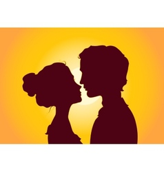 Sunset silhouettes of couple vector