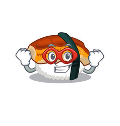 Super hero sushi unagi isolated in cartoon vector