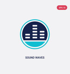 Two color sound waves icon from discotheque vector