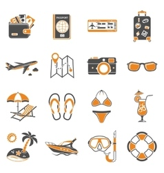 Vacation and Tourism Icons Set vector image