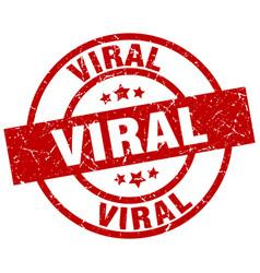 Viral round red grunge stamp vector