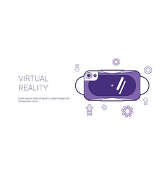 virtual reality glasses template web banner with vector image