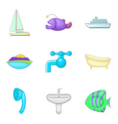 Water vocation icons set cartoon style vector