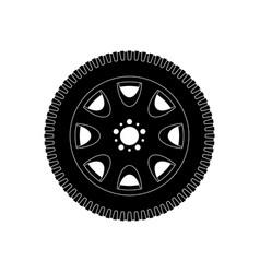 Wheel with tyre black icon vector
