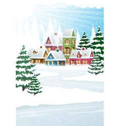 winter landscape with forest and houses vector image