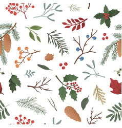 wintertime plants flat seamless pattern vector image