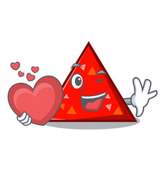 With heart triangel mascot cartoon style vector