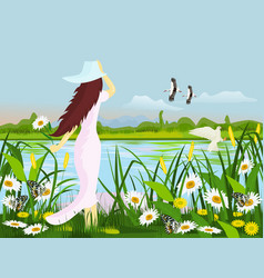 Woman wearing a hat standing at the swamp vector